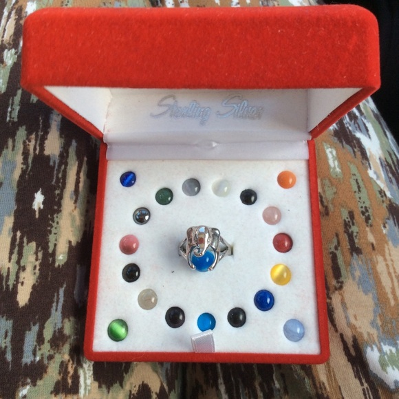 Vintage Jewelry - Sterling Silver Elephant Ring Multi Rainbow Stones